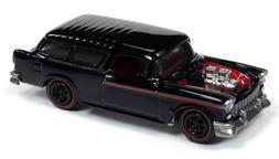 Johnny Lightning 1/64 1955 Chevy Nomad Wagon Gloss Black Die