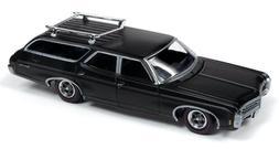 Auto World 1/64 1969 Chevy Kingswood Wagon Flat Black Die-Ca