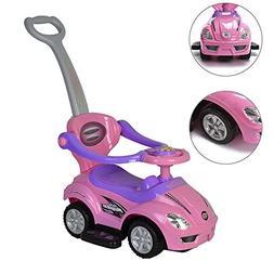 ChromeWheels 2 in 1 Ride on Toys Pushing Car with Guardrail,