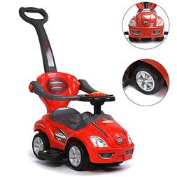 ChromeWheels 2 in 1 Ride on Toys Pushing Car with Guardrail,