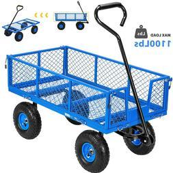 1100lb Steel Garden Utility Wagon Cart Heavy Duty Wheelbarro