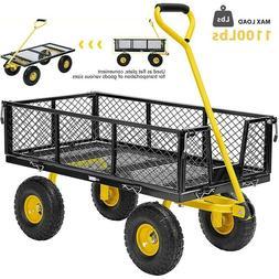 1100lb Steel Utility Wagon Cart Heavy Duty Outdoor Wheelbarr