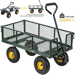 1100lbs Mesh Steel Garden Cart Folding Utility Wagon Heavy D
