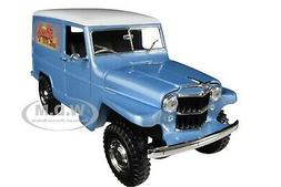 1955 WILLYS JEEP STATION WAGON SILVER BLUE 1/18 DIECAST CAR