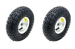 "New 2 Tire Set 10"" Steel Air Pneumatic Hand Truck Dolly Wago"