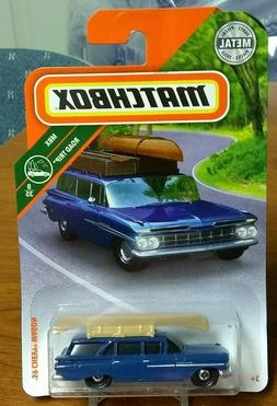 2018 Matchbox '59 Chevy Wagon  Blue with Tan Canoe #10/125