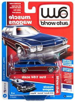 2019 AUTO WORLD 1:64 *PREMIUM 2A* Blue 1974 Buick Estate Sta