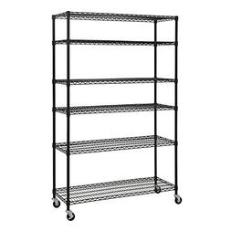 6-Level Mobile Wire Shelving Unit