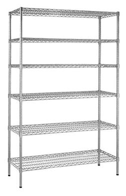 "6-Shelf 48""W x 72""H x 18""D Steel Shelving Unit, Zinc"