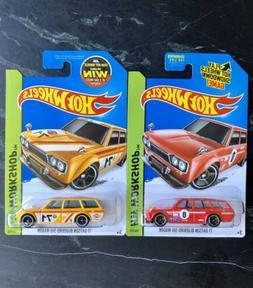 Hot Wheels '71 Datsun Bluebird 510 Wagon LOT OF 2 Red & Ye