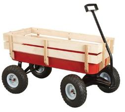 Unique Imports All Terrain Steel and Wood Pull Cart Wagon Fo