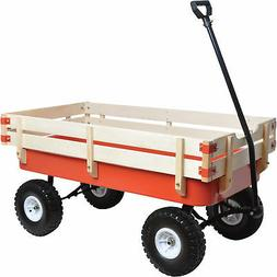All-Terrain Pulling Outdoor Removable Wooden Side Red Wagon,