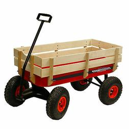 Speedway All Terrain Racer Steel Red Wagon with wood sides M