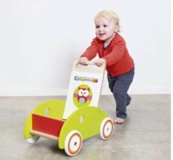 Baby Walker Wagon Cart Toddler Kids Baby Wooden Push Walker