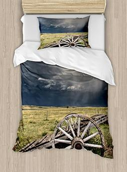 Ambesonne Barn Wood Wagon Wheel Duvet Cover Set Twin Size, C
