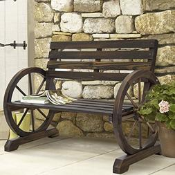 BCP Patio Garden Wooden Wagon Wheel Bench Rustic Wood Design