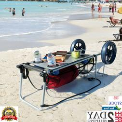 Beach Cart For Sand With Big Wheels Folding Table Towel Stor