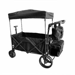 BLACK OUTDOOR PUSH FOLDABLE WAGON CANOPY UTILITY TRAVEL CART