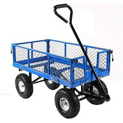 Sunnydaze Blue Heavy-Duty Steel Log Cart, 34 Inches Long x 1