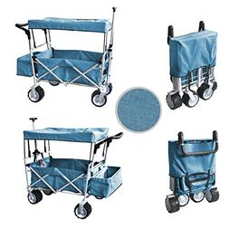 BLUE FREE ICE COOLER PUSH AND PULL HANDLE FOLDING BABY STROL