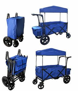 BLUE PUSH HANDLE / FOOT BRAKE FOLDING WAGON BABY STROLLER UT