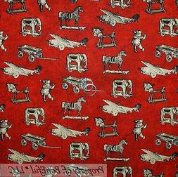 BonEful Fabric FQ Cotton Quilt Red Airplane VTG Antique Baby