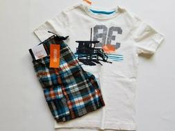 Boys Gymboree Surf Wagon Ocean White Shirt Plaid Shorts Outf