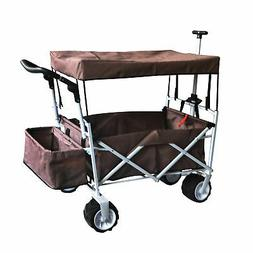 BROWN OUTDOOR FOLDING WAGON CANOPY GARDEN STROLLER TRAVEL CA