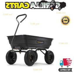 Gorilla Carts Steel Frame 4-cu ft Poly Yard 4-Wheel Dump Car