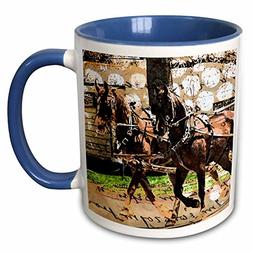 3dRose Cassie Peters Horses - Two Horse Wagon Collage - 15oz