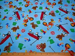 Childrens Fabric By Yard Wagons Toys Blocks on Blue Quilting