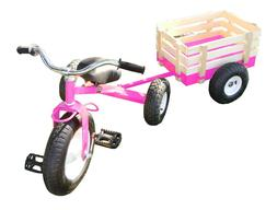 Classic Pink Tricycle with Wagon Set Pull Along Trike Toy Ou