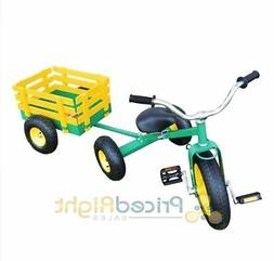 Classic Tricycle with Wagon Set Pull Along Trike Toy Outdoor