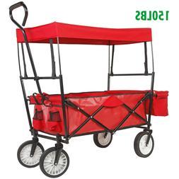 Collapsible Folding All Terrain Utility Wagon Cart Garden Pu