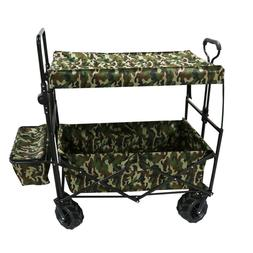 Collapsible Folding Utility Wagon Cart with Canopy – Camo