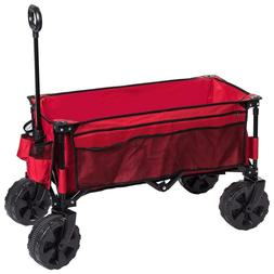 Collapsible Folding Wagon Cart Steel Frame Large Wheels Camp