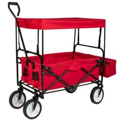 Collapsible Folding Wagon Garden Beach Utility Cart  with Ca