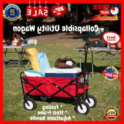 Collapsible Utility Wagon With All Terrain Wheels Folding Ca