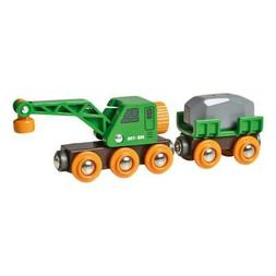 Brio Crane Wagon with Trailer & Freight Car 4-Part Accessory