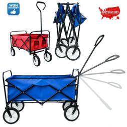Deluxe Folding Utility Beach Cart Portable Large Shopping Wa