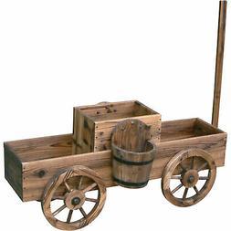 2-Tiered Wooden Wagon Garden Flower Planter Handle & Wheels