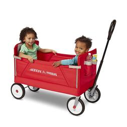 Foldable Red Wagon Collapsible Buggy Childrens Transport Clo