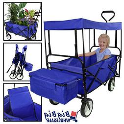 Folding Beach Wagon Garden Cart Storage Utility Buggy Toy w/