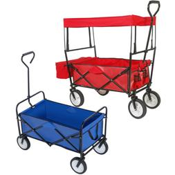 Folding Canopy Utility Wagon Cart Kid Collapsible Camping Tr