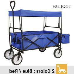 Folding Garden Utility Wagon Cart All Terrain Kids Trolley P