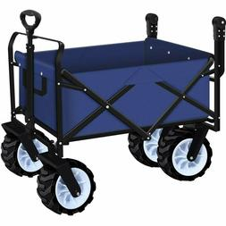 Folding Push And Pull Beach Wagon Cart Collapsible Garden Wi