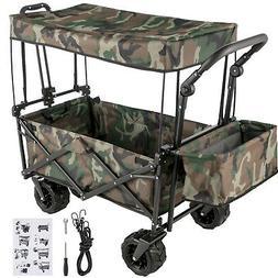 Folding Wagon Cart Collapsible Folding Garden Camouflage Bea
