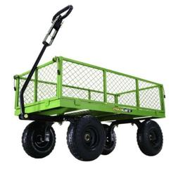 Garden Cart 800# Steel Lawn Wagon Gorilla Flatbed Green LOCA