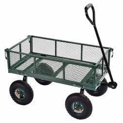 Garden Cart Steel Utility Wagon Heavy Duty Yard Lawn 400 Lb