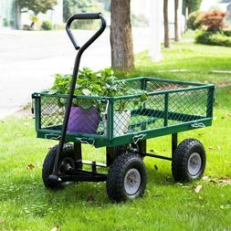 Garden Carts Yard Dump Wagon Lawn Utility Cart Outdoor Steel